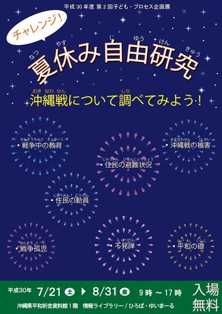 第2回 子ども・プロセス企画展「チャレンジ!夏休み自由けんきゅう」沖縄戦について調べてみよう