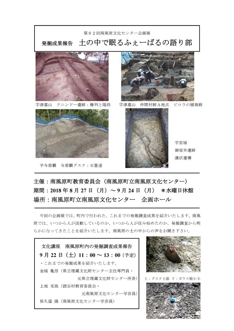 第82回 南風原文化センター企画展「発掘成果報告 土の中で眠るふぇーばるの語り部」